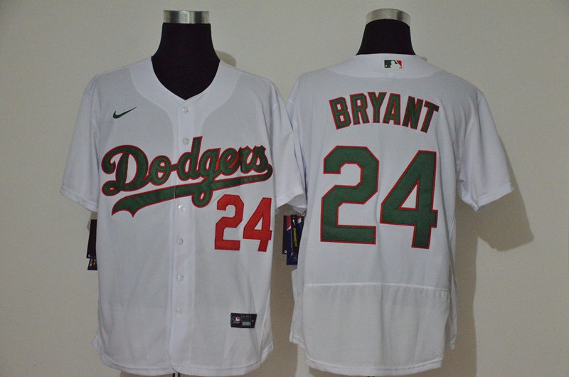 Men's Los Angeles Dodgers #24 Kobe Bryant White With Green Name Stitched MLB Flex Base Nike Jersey