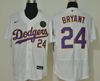 Men's Los Angeles Dodgers #24 Kobe Bryant White With Purple Name KB Patch Stitched MLB Flex Base Nike Jersey