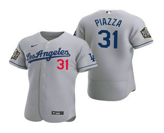 Men's Los Angeles Dodgers #31 Mike Piazza Gray 2020 World Series Authentic Road Flex Nike Jersey