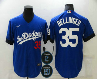 Men's Los Angeles Dodgers #35 Cody Bellinger Blue #2 #20 Patch City Connect Number Cool Base Stitched Jersey