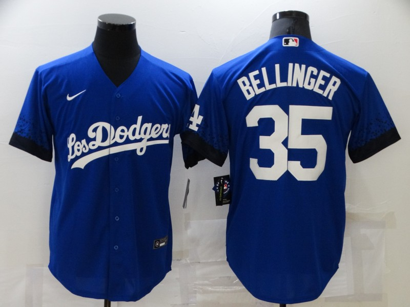 Men's Los Angeles Dodgers #35 Cody Bellinger Blue 2021 City Connect Number Cool Base Stitched Jersey