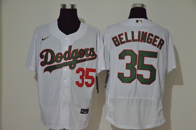 Men's Los Angeles Dodgers #35 Cody Bellinger White With Green Name Stitched MLB Flex Base Nike Jersey