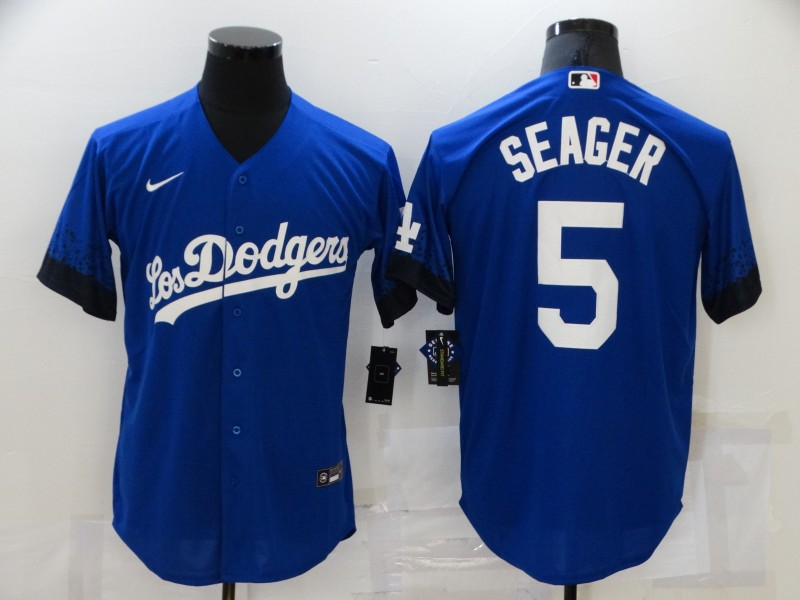 Men's Los Angeles Dodgers #5 Corey Seager Blue 2021 City Connect Cool Base Stitched Jersey