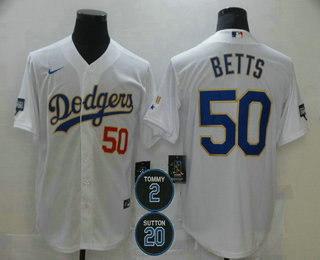 Men's Los Angeles Dodgers #50 Mookie Betts Red Number White Gold #2 #20 Patch Stitched MLB Cool Base Nike Jersey