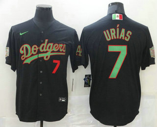 Men's Los Angeles Dodgers #7 Julio Urias Black Green Mexico 2020 World Series Stitched MLB Jersey