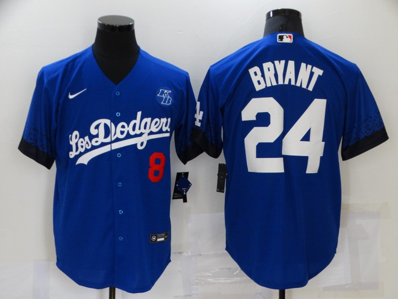 Men's Los Angeles Dodgers #8 #24 Kobe Bryant Blue 2021 City Connect Number Cool Base Stitched Jersey