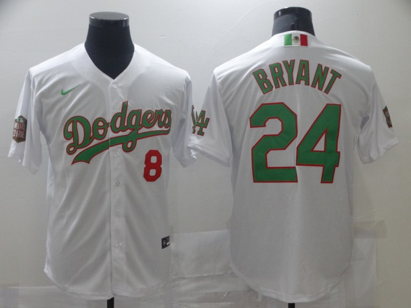 Men's Los Angeles Dodgers #8 #24 Kobe Bryant White Green Mexico 2020 World Series Stitched MLB Jersey