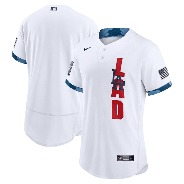 Men's Los Angeles Dodgers Blank 2021 White All-Star Flex Base Stitched MLB Jersey