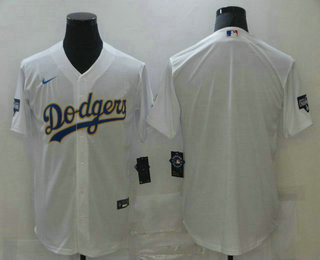 Men's Los Angeles Dodgers Blank White Gold Championship Stitched MLB Cool Base Nike Jersey