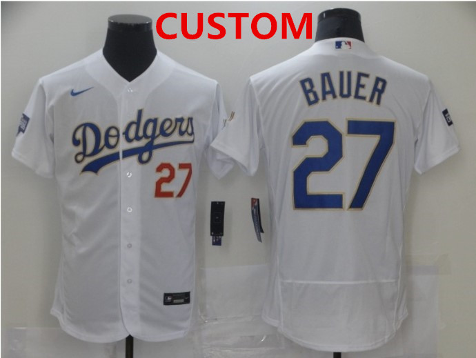 Men's Los Angeles Dodgers Custom White Gold Champions Patch Stitched MLB Flex Base Nike Jersey