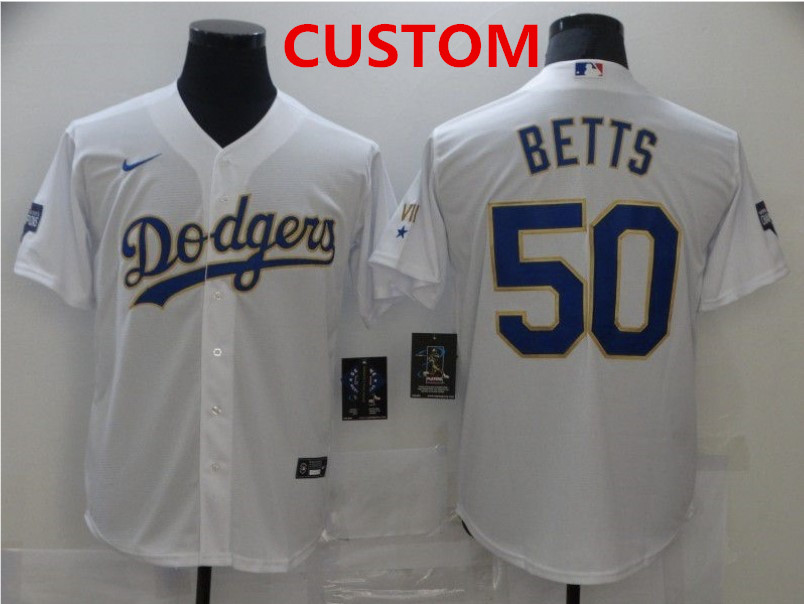 Men's Los Angeles Dodgers Custom White Gold Championship Stitched MLB Cool Base Nike Jersey