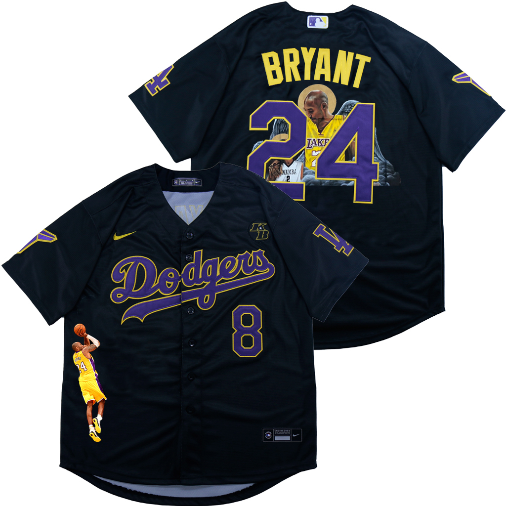 Men's Los Angeles Dodgers Front #8 Back #24 Kobe Bryant Black With KB Patch Cool Base Stitched MLB Fashion Jersey
