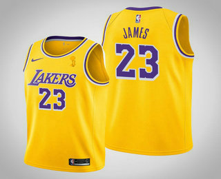Men's Los Angeles Lakers #23 LeBron James 2020 NBA Finals Champions Icon Yellow Jersey