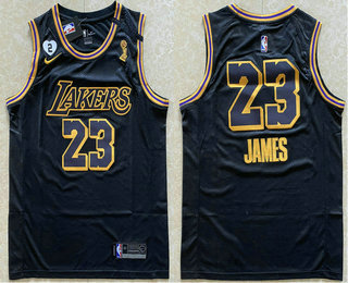 Men's Los Angeles Lakers #23 LeBron James Black NEW 2020 NBA Finals Champions Nike City Edition Wish and Heart Stitched Jersey