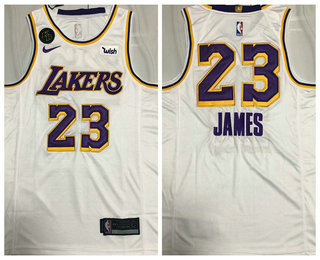 Men's Los Angeles Lakers #23 LeBron James White With KB Patch NEW 2021 Nike Wish AU Stitched NBA Jersey