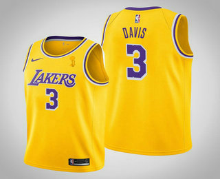 Men's Los Angeles Lakers #3 Anthony Davis 2020 NBA Finals Champions Icon Yellow Jersey