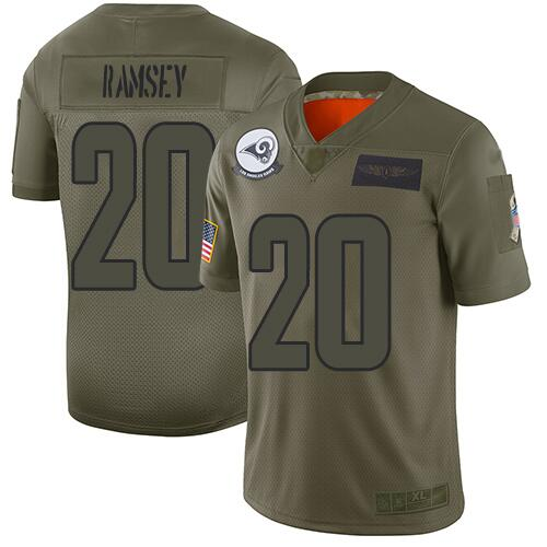 Men's Los Angeles Rams #20 Jalen Ramsey 2019 Camo Salute To Service Limited Stitched NFL Jersey