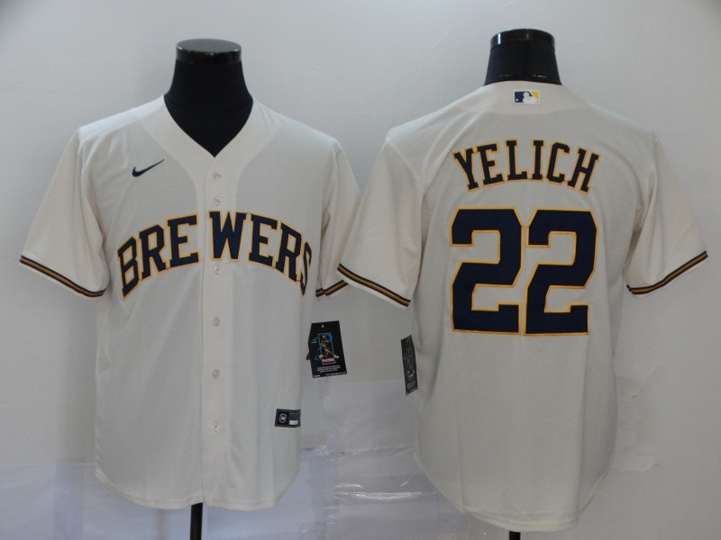 Men's Milwaukee Brewers #22 Christian Yelich Cream Stitched MLB Cool Base Nike Jersey