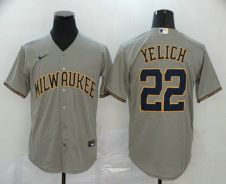 Men's Milwaukee Brewers #22 Christian Yelich Gray Stitched MLB Cool Base Nike Jersey