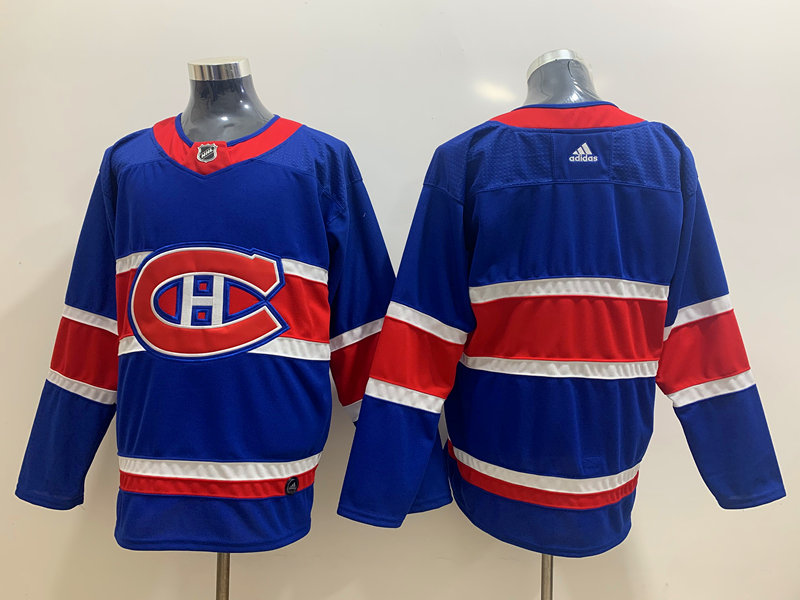 Men's Montreal Canadiens Blank Blue Adidas 2020-21 Alternate Authentic Player NHL Jersey