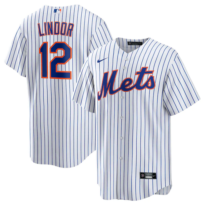 Men's New York Mets #12 Francisco Lindor White Cool Base Stitched Jersey