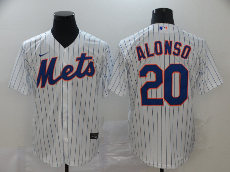 Men's New York Mets #20 Pete Alonso White Stitched MLB Cool Base Nike Jersey