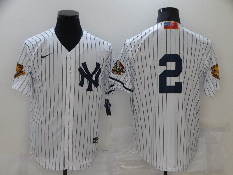 Men's New York Yankees #2 Derek Jeter White 2001 Throwback Cooperstown Collection Stitched MLB Nike Jersey