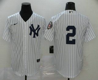 Men's New York Yankees #2 Derek Jeter White No Name 2020 Hall of Fame Patch Stitched MLB Cool Base Nike Jersey