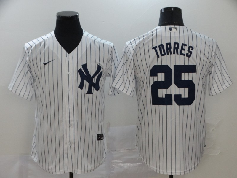 Men's New York Yankees #25 Gleyber Torres White Home Stitched MLB Cool Base Nike Jersey