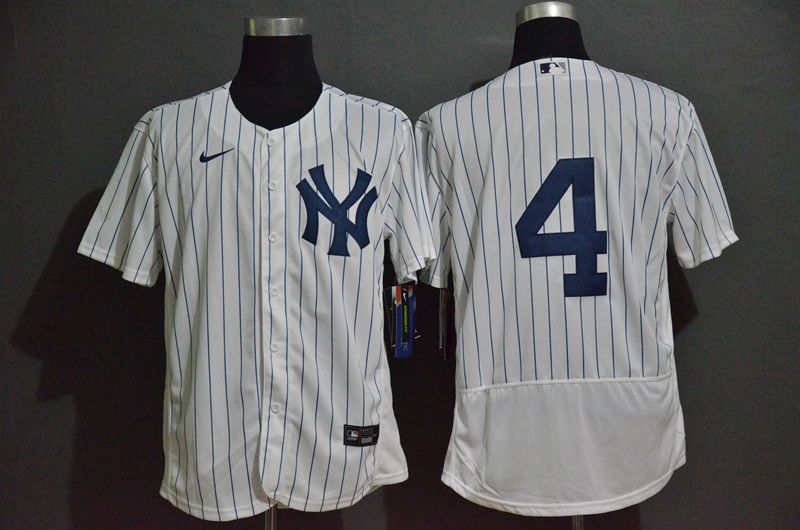 Men's New York Yankees #4 Lou Gehrig White Home No Name Stitched MLB Flex Base Nike Jersey