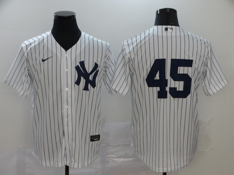 Men's New York Yankees #45 Gerrit Cole White Home No Name Stitched MLB Cool Base Nike Jersey
