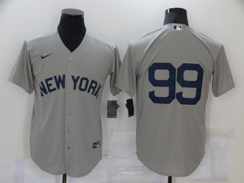 Men's New York Yankees #99 Aaron Judge 2021 Grey Field of Dreams Cool Base Stitched Baseball Jersey