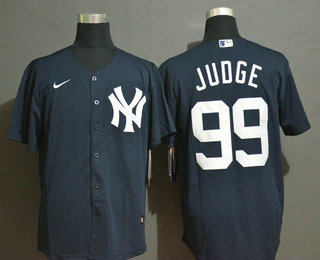Men's New York Yankees #99 Aaron Judge Navy Blue White Number Stitched MLB Cool Base Nike Jersey