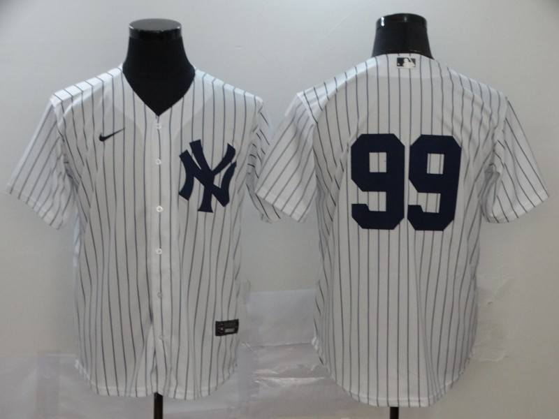 Men's New York Yankees #99 Aaron Judge White Home No Name Stitched MLB Cool Base Nike Jersey
