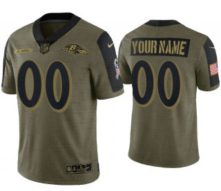 Men's Olive Baltimore Ravens ACTIVE PLAYER Custom 2021 Salute To Service Limited Stitched Jersey