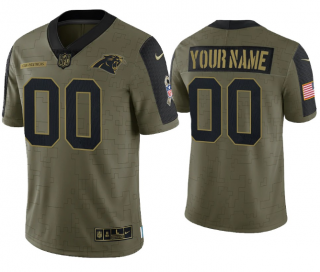 Men's Olive Carolina Panthers ACTIVE PLAYER Custom 2021 Salute To Service Limited Stitched Jersey