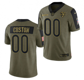 Men's Olive Chicago Bears ACTIVE PLAYER Custom 2021 Salute To Service Limited Stitched Jersey