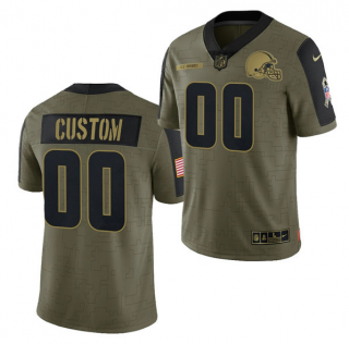 Men's Olive Cleveland Browns ACTIVE PLAYER Custom 2021 Salute To Service Limited Stitched Jersey