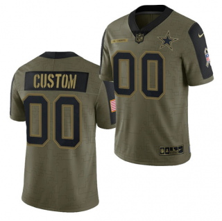 Men's Olive Dallas Cowboys ACTIVE PLAYER Custom 2021 Salute To Service Limited Stitched Jersey