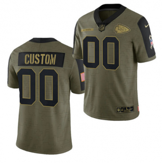 Men's Olive Kansas City Chiefs ACTIVE PLAYER Custom 2021 Salute To Service Limited Stitched Jersey