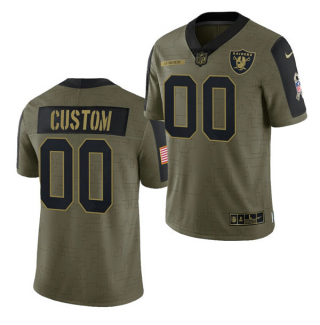 Men's Olive Las Vegas Raiders ACTIVE PLAYER Custom 2021 Salute To Service Limited Stitched Jersey