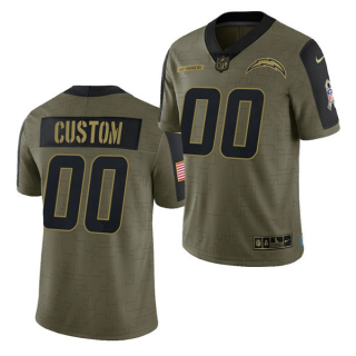 Men's Olive Los Angeles Chargers ACTIVE PLAYER Custom 2021 Salute To Service Limited Stitched Jersey