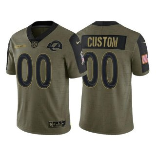 Men's Olive Los Angeles Rams ACTIVE PLAYER Custom 2021 Salute To Service Limited Stitched Jersey