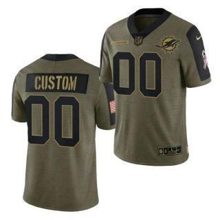 Men's Olive Miami Dolphins ACTIVE PLAYER Custom 2021 Salute To Service Limited Stitched Jersey