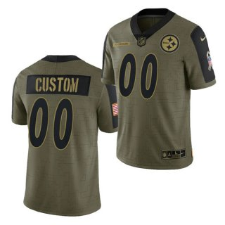 Men's Olive Pittsburgh Steelers ACTIVE PLAYER Custom 2021 Salute To Service Limited Stitched Jersey