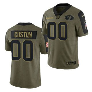 Men's Olive San Francisco 49ers Customized 2021 Salute To Service Limited Stitched Jersey