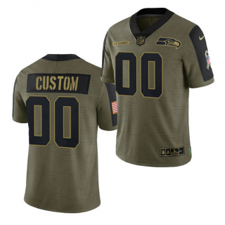 Men's Olive Seattle Seahawks ACTIVE PLAYER Custom 2021 Salute To Service Limited Stitched Jersey