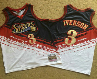 Men's Philadelphia 76ers #3 Allen Iverson White With Black Independence Day 1997-98 Hardwood Classics Soul AU Throwback Jersey
