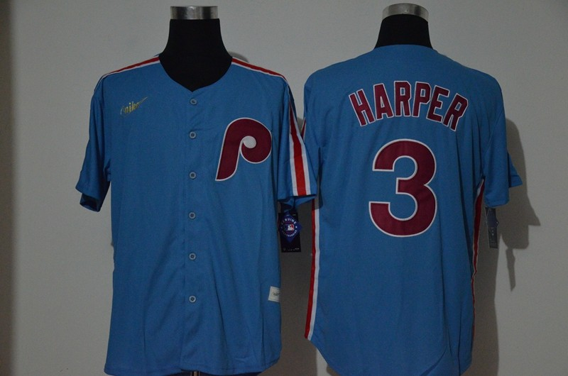 Men's Philadelphia Phillies #3 Bryce Harper Light Blue Cooperstown Collection Stitched MLB Nike Jersey