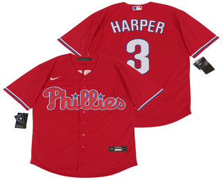 Men's Philadelphia Phillies #3 Bryce Harper Red Stitched MLB Cool Base Nike Jersey
